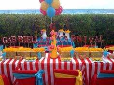 Adorable table for a carnival birthday party! Circus Carnival Party, Kids Carnival, Circus Theme Party, Carnival Birthday Parties, Circus Birthday, First Birthday Parties, Birthday Party Themes, First Birthdays, 5th Birthday