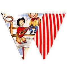 This Jamboree Time! Retro Cowboy Bunting will delight any cowboy loving youngster. Yee Haa!