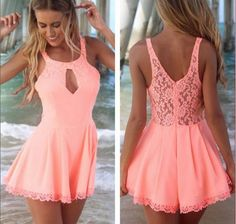 Women Summer Dress 2015 New White Pink Fashion Hollow Lace Dress --Wow, this is Summer Hot! Lace Playsuit, Lace Jumpsuit, Lace Dress, Jumpsuit Shorts, Lace Chiffon, Pink Dress, Backless Jumpsuit, Short Jumpsuit, Chiffon Fabric