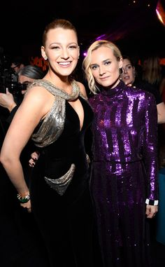 Blake Lively & Diane Kruger from Golden Globes 2017 Party Pics The Hollywood le. - Blake Lively & Diane Kruger from Golden Globes 2017 Party Pics The Hollywood leading ladies embrac - Diane Kruger, Mode Blake Lively, Blake Lively Style, Golden Globes After Party, Golden Globe Award, Purple Gowns, Hollywood, Kaley Cuoco, Musa
