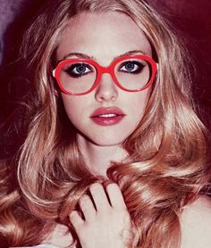 amanda seyfried. Nice red glasses.