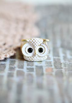 Snowy Owl Elastic Ring  15.99 at shopruche.com. This charming white owl ring is adorned with black rhinestones and gold colored accents. Elasticized band.One sized, adjustable , pendant .75'' long