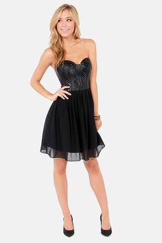 Tough as Leather Strapless Black Vegan Leather Dress  Get 7% Cash Back http://www.studentrate.com/itp/get-itp-student-deals/lulu-s-Student-Discount--/0