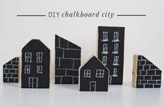 DIY Chalkboard city - Puukaupunki