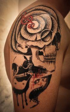 Art Brut Skull and Shark Tattoo by Jo Tuntroll