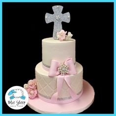 Ivory and Pink First Holy Communion Cake With Glitter Cross Cake Toppe – Blue Sheep Bake Shop