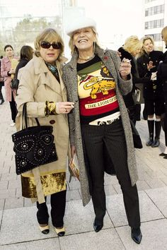 ANITA PALLENBERG LOOKBOOK March 7, 2004 Where: With Marianne Faithfull at the Louis Vuitton fall 2004 runway show.March 7, 2004