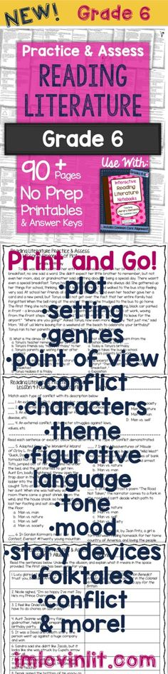 Grade 6 No Prep Printables: Practice and Assess Reading Literature