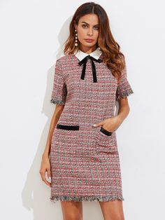 Contrast Bow Neck Fringe Trim Tweed Dress -SheIn(Sheinside)