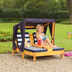 Your little ones can have their own fun in the sun with the Striped Cabana Lounge. Packed with goodies like 2 chaises, 2 cup holders, and a 3 sided canopy to protect them from the sun. Constructed with high quality weather resistant wood and a weather resistant canopy to keep it looking great year after year even through rain, sun and snow! Dimensions: 93 L x 86.5 W x 89 H cm Materials: solid wood, MDF