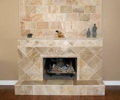 walnut travertine tile fireplace ideas | visit tileshop com