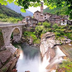 Wonderful Places: Lavertezzo - Switzerland ✨💚💚💚✨ Picture by ✨✨ . for a feature . Beautiful Places To Visit, Wonderful Places, Places To See, Napoleon Hill, Monuments, Austria, Monaco, Canton Ticino, Places