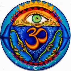 """buddhablessnamasteuniverse:  Anja, 6th chakra, Third Eye, 8.5""""x8.5"""", oil on wood Art by Lori Felix"""