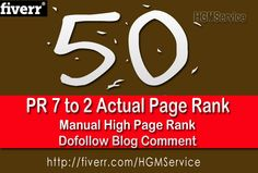 http://fiverr.com/hgmservice/make-50-manual-dofollow-blog-commenting-actual-pr-7-to-2 - Dofollow blog commenting HGMService Provide You High Quality Offer Exclusively On Fiverr, Google Penguin & Panda Safe, All Blog Comments Are 100% Manual Post 100% Dofollow Linked. You Will Receive 50 Unique Comments, Links To Any Website, Blog, Twitter, Facebook Page, Wikis, Pinterest, Youtube Videos And Instagram. https://www.facebook.com/bestfiver/posts/1429432193936418