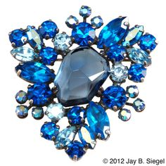Weiss India Inspired Blue Lava Rock Rhinestone Brooch Pin www.rubylane.com #Vintage Jewelry #RubyLane @Melisse Campbell