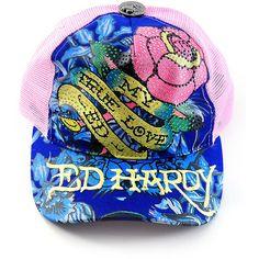 Ed Hardy~ My True Love Rhinestone Hat 00d408c8d5e