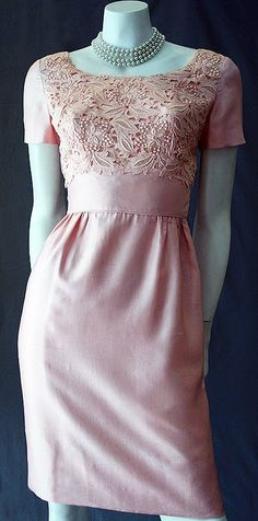1950s pink silk sheath dress - i would like this in sea glass blue or green for my bridesmaids please and thank you