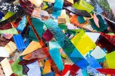 1/2 pound of MOSAIC STAINED GLASS SCRAP  7.99 you pick the color mix (blues, greens, reds, etc). I think this is the way I'm going to go.