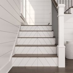 Ornamental Mouldings Shiplap and Beaded Reversible Primed H x W x D Stair Riser Tile Stairs, Wood Stairs, Garage Stairs, Rustic Stairs, Basement Stairs, Foyers, Stair Renovation, Farmhouse Renovation, Farmhouse Kitchens