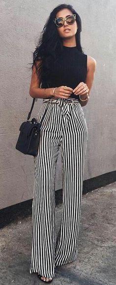 Striped Pants/ Black Top