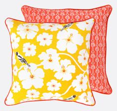 Yellow Weaver Cushion - Hand printed pillow with floral bird and blooms print on one side and red hibiscus design on the other side. Brighton, Hibiscus Flowers, Floor Cushions, Cushion Covers, Cotton Linen, Screen Printing, Yellow, Orange, Throw Pillows