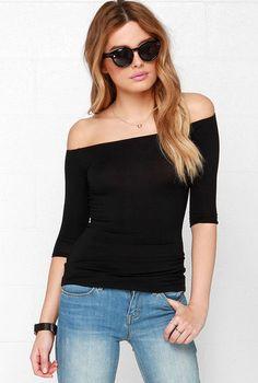 T-shirt épaule dénudé -Noir