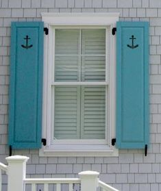 Decorative Shutters With Nautical Cutouts Anchor And Wave