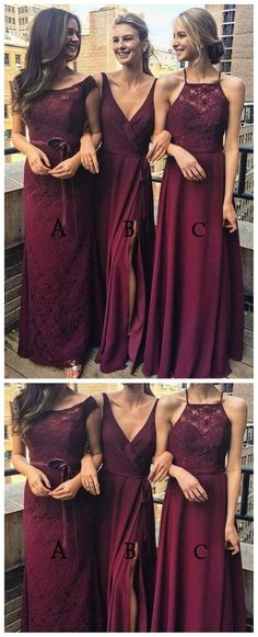 lace chiffon Dark Red Mimsatched Cheap Long Bridesmaid Dresses Online, The bridesmaiddresses are fully lined, chest pad in the bust, lace up back or zipper back are all available, t Red Bridesmaids, Mismatched Bridesmaid Dresses, Bridesmaid Dresses Online, Wedding Bridesmaid Dresses, Homecoming Dresses, Bridesmaid Outfit, Dress Wedding, Blue Wedding, Senior Prom