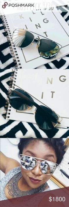 """Silver oversized mirror sunnies These modern mirror shades have a chic vintage cut that reminds me of the 50's, but they're brand new! Neutral metallic & oversized shape lenses really give these sunglasses a unique look with black stems shown for more overall detail // all photos are of my product & not to be shared, thanks! Measurements are approx 5.7"""" from metal corner to corner - each flat lens is approx 2.3"""" // price is firm Karis' Kloset  Accessories Sunglasses"""