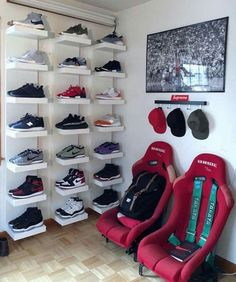 The shoe wall is a need for my room. Shoe Wall, Shoe Room, Room Closet, Men Closet, Sneaker Storage, Shoe Storage, Deco Gamer, Hypebeast Room, Game Room Design