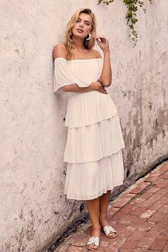 b192c5f7f0a9 Gala Ready White Off-the-Shoulder Ruffle Midi Dress