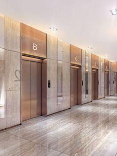 Interior design White Things g. Hotel Lobby Design, Elevator Lobby Design, Lobby Interior, Office Interior Design, Hotel Corridor, Hotel Door, Halls, Lift Design, Reception Design