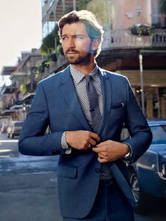 """demelzahcarne: """" """" Michiel Huisman by Anders Overgaard for GQ USA, March 2016 """" """" Best Blue Suits, Navy Blue Suit, Hair Men Style, Hair And Beard Styles, Suit Up, Suit And Tie, Man In Suit, Michael Huisman, Gq Usa"""