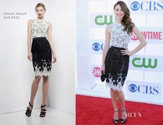 Emmy Rossum In Zuhair Murad – CW, CBS And Showtime 2012 Summer TCA Party ( Love the shoes on the model!)