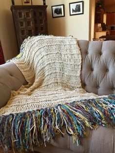 Afghan Blanket Throw with Color Fringe by CricketsHome #livingroom #boho Relaxed Living Room Décor Boho Style Home Ideas