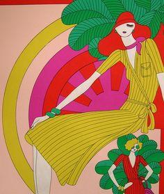 Vtg 60s Mod Fashion Illustration