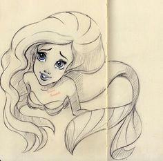 Ariel, The Little Mermaid sketch Mermaid Sketch, Mermaid Drawings, Love Drawings, Drawing Sketches, Art Drawings, Drawing Ariel, Drawing Disney, Drawing Ideas, Sketching