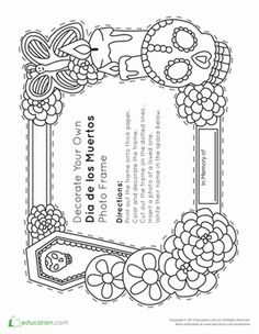 Fall Third Grade Paper Projects Worksheets: Dia de los Muertos Frame