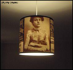 Vintage Tattoos pendant lamp shade lampshade - pendant light, tattoo art, rockabilly decor. €95.00, via Etsy.~~~!!!
