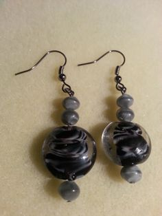Swirled stone earrings-black and gray-SOLD!!