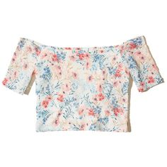 Hollister Off-The-Shoulder Lace Crop Top (170 ARS) ❤ liked on Polyvore featuring tops, crop tops, shirts, pink floral lace, lace top, pink lace top, crop top, off shoulder crop top and white off shoulder top