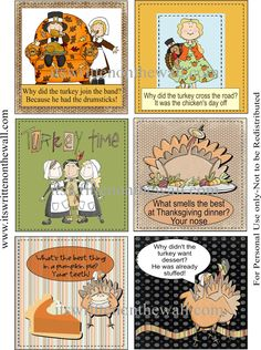 (freebie) Get 24 Lunchbox Notes with a Thanksgiving theme from It's Written on the Wall