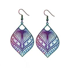 bohemia hollow out big leaf drop earrings for women