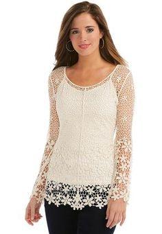 Cato Fashions Sheer Floral Crochet Top- Plus #CatoFashions