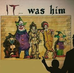 It.was him Pennywise.he feeds off your fear Es Pennywise, Pennywise The Dancing Clown, Horror Movie Characters, Horror Movies, Simpsons, Le Clown, Horror Artwork, Funny Horror, Horror Icons