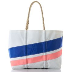 Large Royal and Coral Diagonal Stripe Tote - Hand Crafted from Recycled Sails.