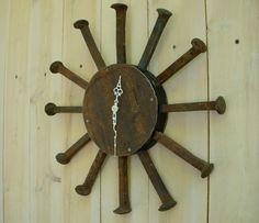 Railroad spikes clock