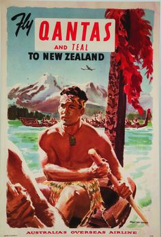 Qantas and TEAL to New Zealand, 1950s Poster