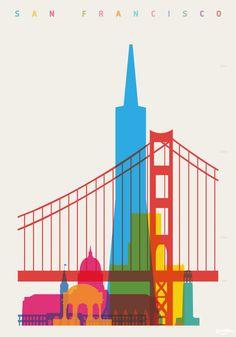 """Arte y Arquitectura: Coloridos Carteles muestran la """"Silueta de Cada Ciudad"""",San Francisco © Yoni Alter"""