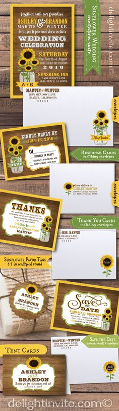 Beautiful vintage rustic sunflower mason jar theme wedding invitation set! Professionally printed and artfully hand-mounted on gorgeous sunflower yellow card stock, this rustic wedding design is truly stunning in person! Perfect for that rustic, barnyard, outdoor wedding celebration.
